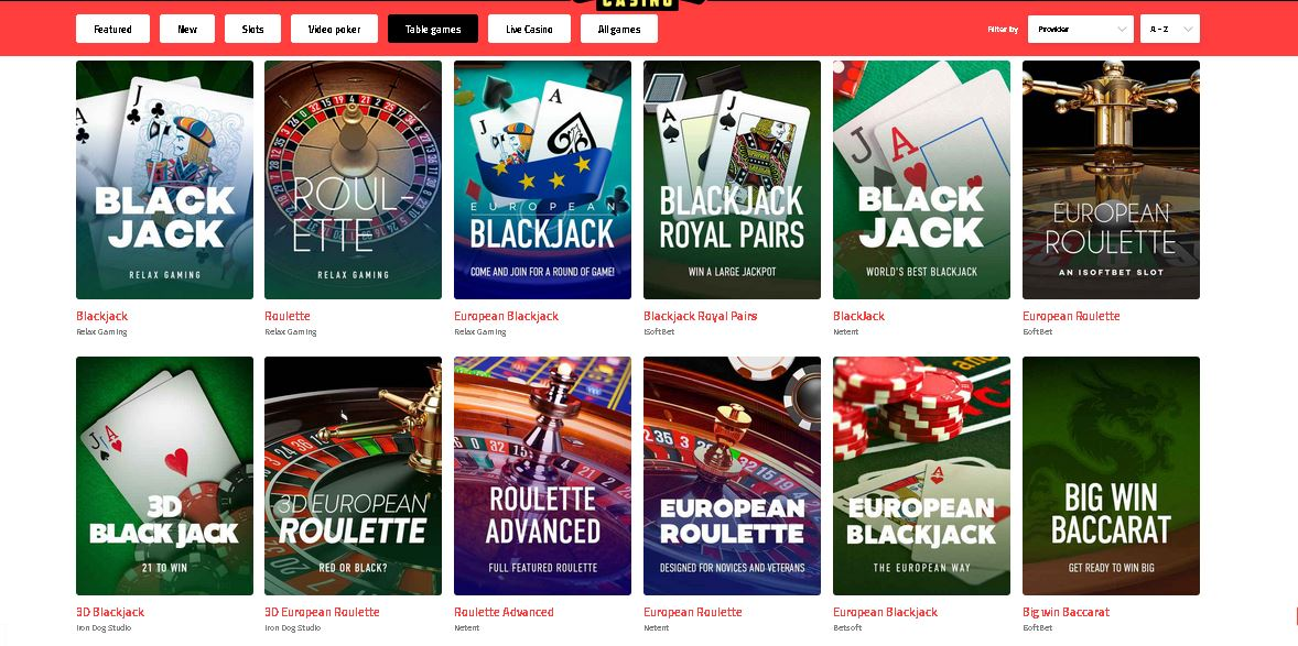 Ultra Casino Table Games