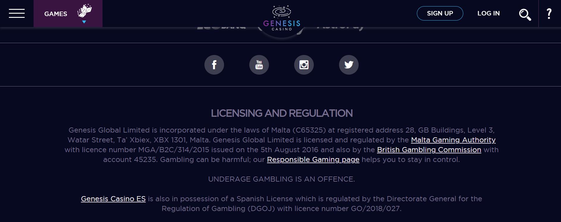 Casino Licence Genesis Casino